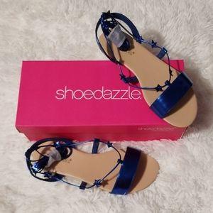 Shoedazzle Metallic Blue Kelda Ankle Wrap Sandals